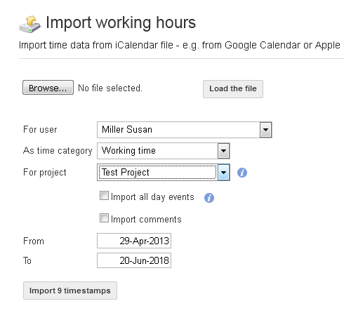 Import Icalendar file
